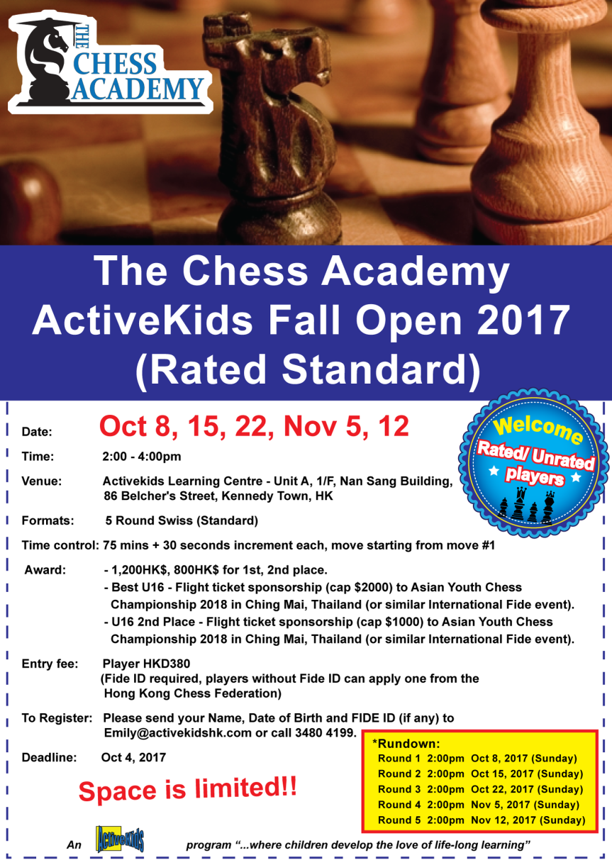 The Chess Academy ActiveKids Fall Open 2017 (Rated Standard)