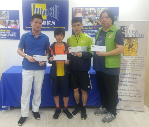 (2nd PlaceAndrew Leung, Best U16 James Kwong, Champion Henry Ho, Coach Sydney Lai) left to right
