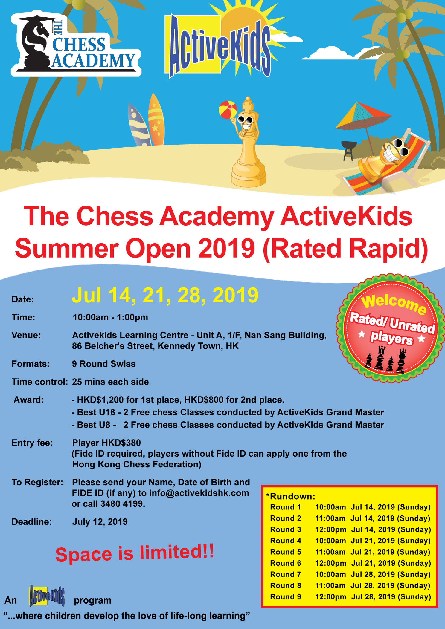 The Chess Academy ActiveKids Summer Open 2019 (Rated Rapid)